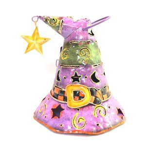 Holiday Home Halloween Tin Witch Hat Lantern